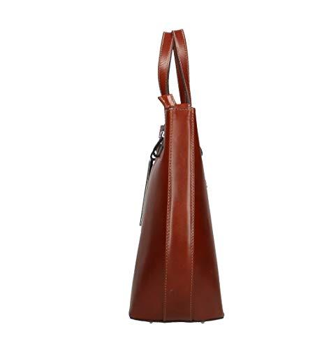 Tracolla Vr 40x33x14cm Italy Con Donna In Spalla Pelle Borsa Grande Vera A Made Marrone Lucilla zzwqrCOZ