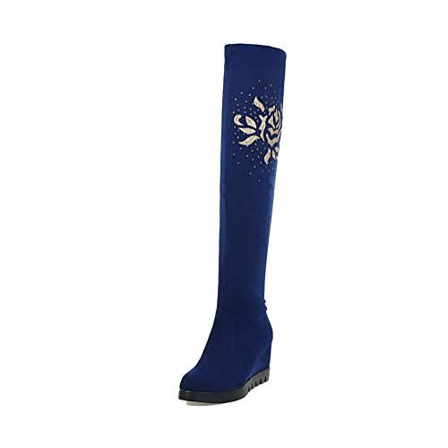 Allhqfashion Mujeres High-heels Frost High-top Solid Pull-on Botas Con Cristales Azules