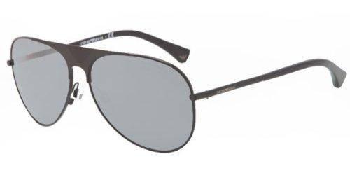 7a181bdd77dc Emporio Armani Men's EA 2003 Modern Aviator Sunglasses, 30146G, Black  frame, Grey Silver