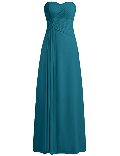 - JAEDEN Bridesmaid Dress Prom Dresses Long Sweetheart Chiffon Evening Gown Pleat Strapless Jade XXL