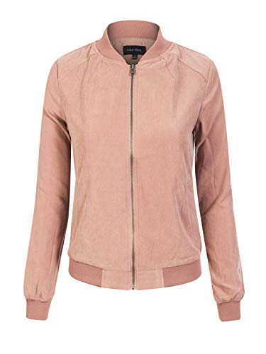 (Instar Mode Women's Casual Faux Suede Stand Collar Zip Up Bomber Short Jacket, Ijkw068 Dark Rose, Small)