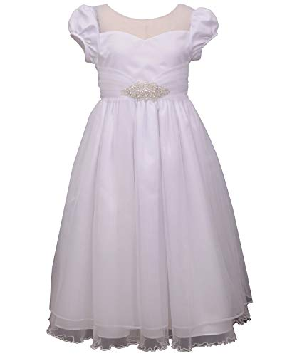 Bonnie Jean Girl's First Communion Dress with Jewel Accent, Short Sleeve (8) White
