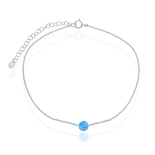 Sterling Silver Created Blue Opal Round Disc 9+2'' Anklet by Beaux Bijoux
