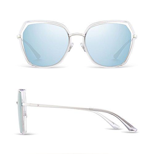 Clair lunettes Lunettes visage de soleil polarisé de soleil Bleu femmes lunettes dame rondes Sq70q