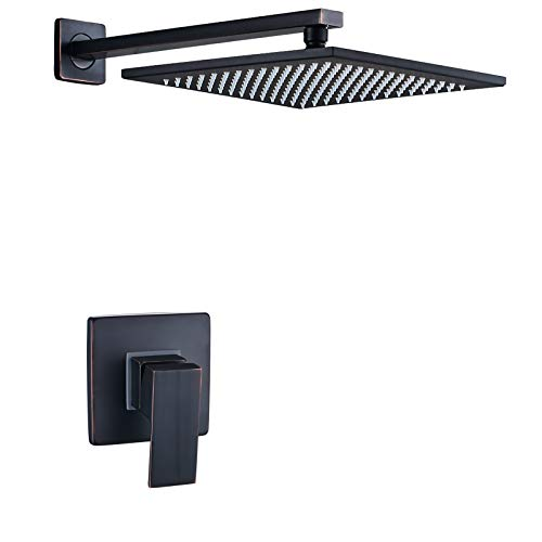 Senlesen Wall Mounted 10 inch Square Top Rainfall Shower Head Mixer Valve Oil Rubbed Bronze