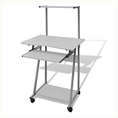 K&A Company Computer Desk with Pull-Out Keyboard Tray White