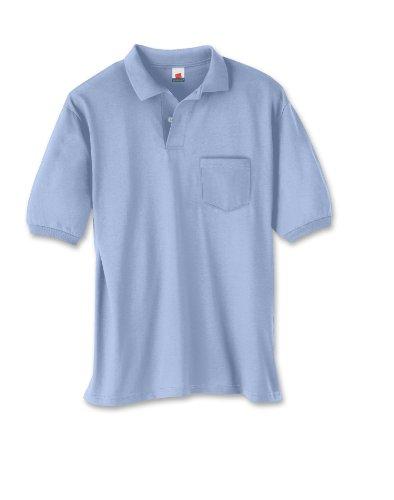 Hanes Men's 5.2 oz Hanes STEDMAN Blended Jersey Pocket Polo, S-Light - Sport Shirt Jersey Knit Blended