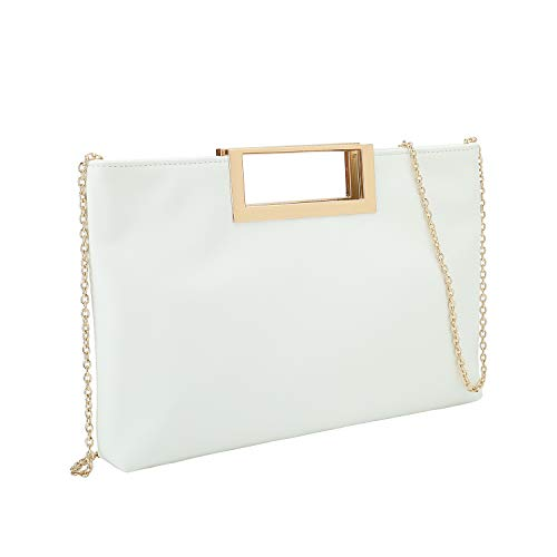White Leather Handbag Purse - Charming Tailor Fashion PU Leather Handbag Stylish Women Convertible Clutch Purse (White)
