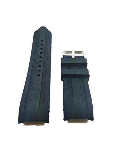 24mm Black Silicone Rubber Curved End Dive Watch Band Strap ()