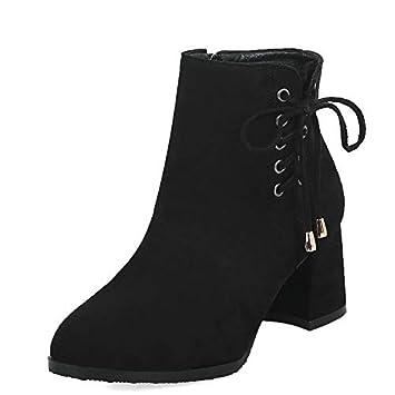 HAOLIEQUAN Botines para Mujer Cremallera Moda Mujer Zapatos Plataforma Cuadrado Tacón Alto Punta Redonda Botas para Mujer Tamaño 34-43: Amazon.es: Deportes ...
