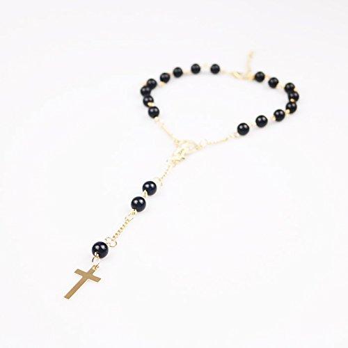 Perle Artificielle Noire Pendentif Croix Bracelet de Cheville pour Talons Hauts