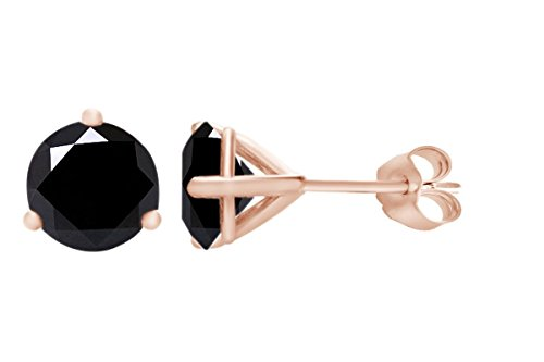 IGI Certified Round Shape Black Natural Diamond 3 Prong Stud Earrings In 10k Solid Rose Gold (0.42 Carat)