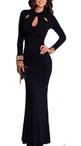 Women's Elegant Slim Long Leeve Hollow Out Bodycon Maxi Dress Black M