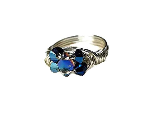 Multistone Metallic Blue Crystals Ring, Customize Sterling Silver or Tarnish Resistant Gold- or Silver-Plated Wire Wrapped .Band - Personalized Size 4 5 6 7 8 9 10 11 12 13 14 15 - Includes Ring Box