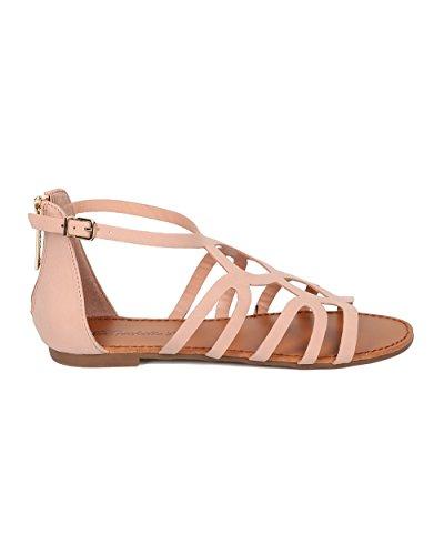 Alrisco Dames Gladiator Platte Sandaal - Strappy Sandaal - Casual Zomer Veelzijdige Alledaagse Sandaal - Hb10 Door Breckelles Collectie Blush Kunstleer