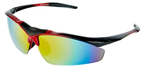 High Balance Triumph - Performance Sports Sunglasses - 5 Interchangeable Lenses, Non-Slip Nose Pads, Case, Rx-Ready Insert, Black with Red - Rx Insert Sunglasses