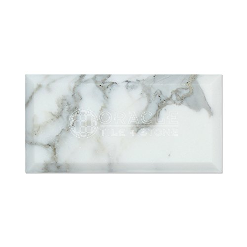 Calacatta Gold (Italian Calcutta) Marble 3 X 6 Subway Field Tile, Honed and Deep Beveled