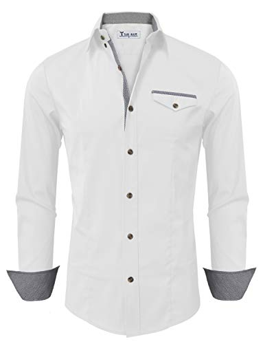 TAM WARE Mens Classic Contrast Slim fit Long Sleeve Shirt TWNMS319-312SN-WHITE-US M