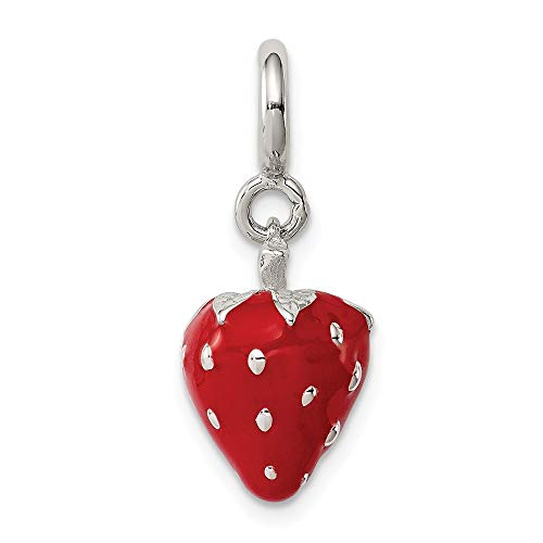 Mia Diamonds 925 Sterling Silver Enameled Strawberry Charm (15mm x 10mm)