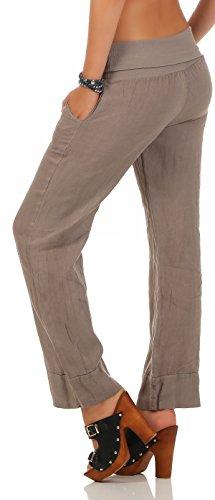 malito de Stile Classico 8076 Pantaloni Estivi Fango Pantaloni Lino Donna rPFqOxP5