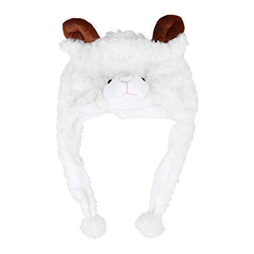 LUOEM Adorable Animal Hat Plush Winter Ski Aviator Style Hat Cartoon Earflap Cap Hood for Children Adults (Sheep)