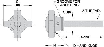 CL-8-SHK4T Carr Lane Manufacturing Swivel-Washer Hand Knob Assembly: Length: 3