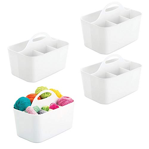 - mDesign Plastic Portable Craft Storage Organizer Caddy Tote, Divided Basket Bin for Craft, Sewing, Art Supplies - Holds Paint Brushes, Colored Pencils, Stickers, Glue, Yarn - Small, 4 Pack - White