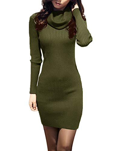 v28 Women Cowl Neck Knit Stretchable Elasticity Long Sleeve Slim Fit Sweater Dress (2-8,ArmyGreen)