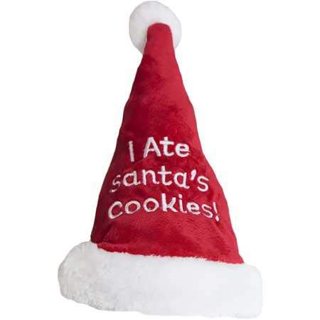 "Outward Hound 11005 Christmas Holiday ""I Ate Santa's Cookies"" Santa Hat, Small"