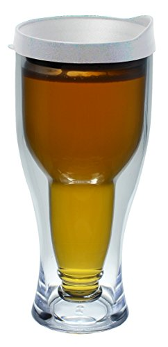 Southern Homewares SH-10089 Vaso para Cerveza, con Tapa, Acrílico de Aislamiento Térmico de Doble Pared