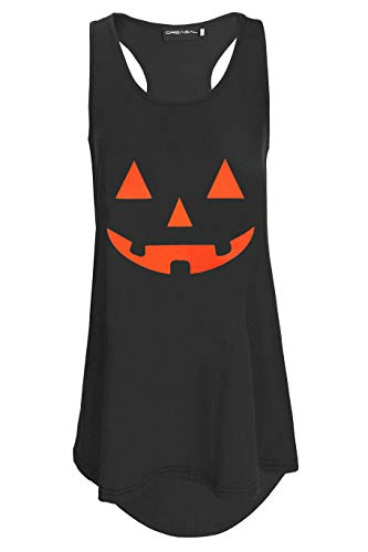 DREAGAL Women's Halloween Pumpkin Face Burnout Racerback Tank Top Black XL -