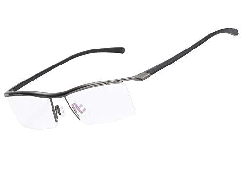 LUOMON Non-Prescription Glasses Men 54mm Semi Rimless Plain Eyeglasses with Grey TR90 Unbreakable Frame EG001