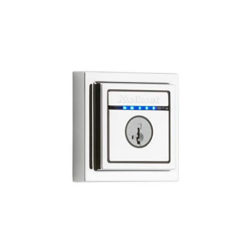 Kwikset 99250-208 Kevo Contemporary Touch-to-Open Bluetooth Smart Square Door Lock Deadbolt Featuring SmartKey Security, Polished Chrome