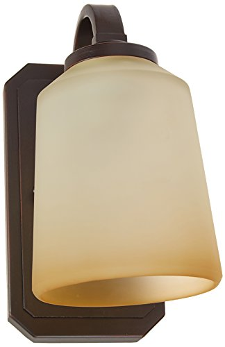 Lite Source LS-16741 Rupert Wall Lamp, Aged Copper with Light Amber Glass Shade