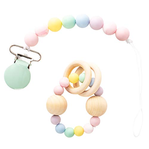 funny supply Silicon Pacifier Clip Holder and Teething Rattle Set for Newborn Babies Silicon Beads Toy Baby Teething Ring Chew Toy Baby Teething Bracelet Rainbow Set