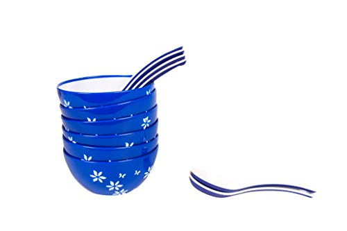 Cutting Edge Premium Microwaveable Soup Bowl Set of 6 with Spoons  6 Bowl with 6 Spoon    Blue