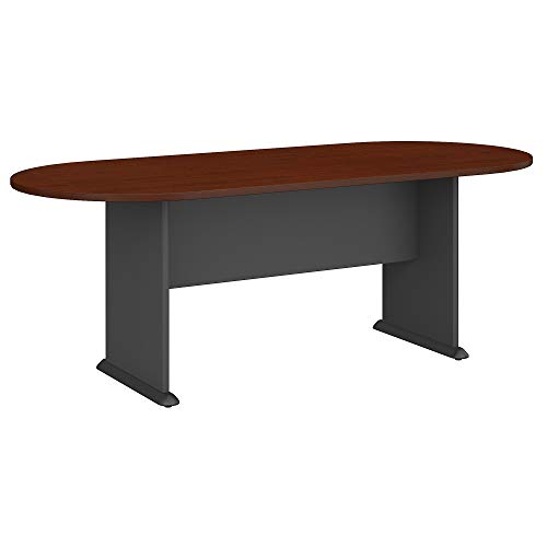 Bush Business Furniture Series C 82W x 35D Racetrack Conference Table, Mahogany and Graphite Gray - Square Corner Table Seating