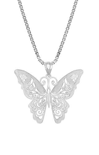 Sterling Filigree Butterfly Necklace Pendant
