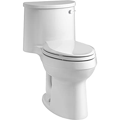 KOHLER K-3946-RA-0 Adair Comfort Height One-Piece Elongated 1.28 GPF Toilet with Aqua Piston Flush Technology and Right-Hand Trip Lever, White