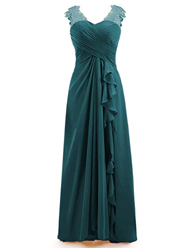 Miao Duo Women's Maxi Lace Applique Sweetheart Bridesmaid Dresses Long Wedding Party Gowns Chiffon Pleated Teal 8