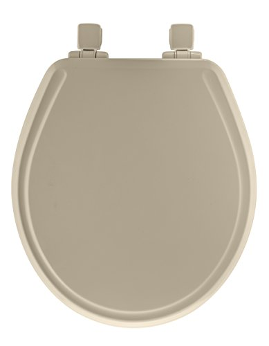 Mayfair Molded Wood Toilet Seat featuring Slow-Close, Easy Clean & Change Hinges and STA-TITE Seat Fastening System, Round, Bone, 48SLOWA 006
