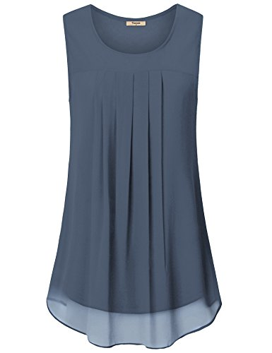 Timeson Work Tops for Women, Woman's Gray Sleeveless Tunic Shirts Business Casual Summer Clothes for Woman Office Wear Comfy Cool Chiffon Flowy Tank Tops for Junior for Leggings Blue Grey Small