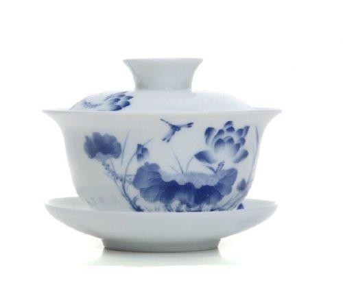 Moyishi Dragonfly Gaiwan Traditional Chinease Tureen Sancai Tea Cup Tea Set 5.3 oz