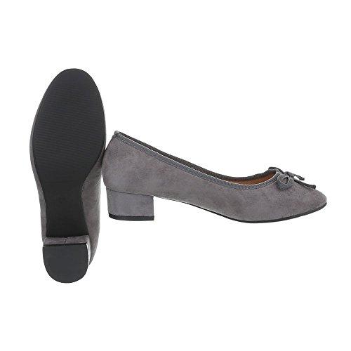 Gris Mujer Design Ancho Bailarinas Bailarinas Tacón Zapatos Ital Xq98917 Clásicas para CH855z