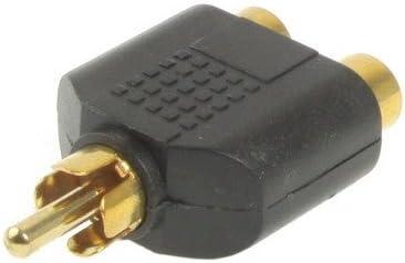 DIYオーディオおよびビデオケーブル用オーディオアダプターオーディオケーブル、小型、軽量、持ち運びが RCAソケット(金メッキ)を2倍にするRCAプラグ、小型、軽量で持ち運びが容易