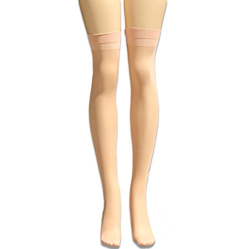 Vivien Women's Smooth and Comfortable High Support Reinforced Toe THIGH HIGH Sheer Hosiery Stocking -FRENCH NUDE -