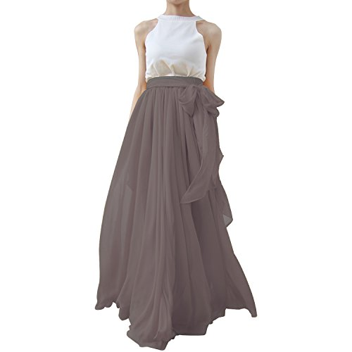 Vickyben Summer Beach Chiffon Long High Waist Maxi Skirt for Prom ...