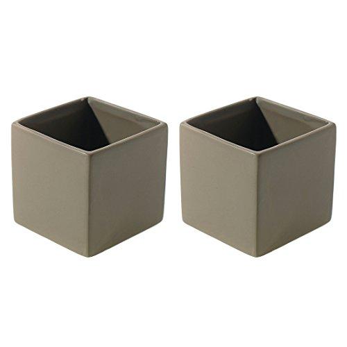 Matte Gray Square Vase - Set of 2 - 3.25 x 3.25 - Ceramic Urban Decor Pot - Small Modern Cube Planter for Office or Home