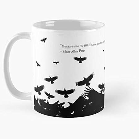 "Coffee Ravens of Murder Allan Tea Literature Crows Citas Edgar Poe Best Taza de café de cerámica de 315 ml, con texto en inglés ""Eat Food Bite John Best Taza de café de cerámica de 315 ml"