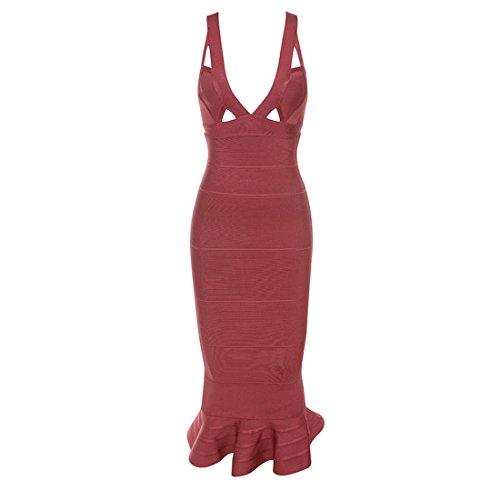 Damen Dunkelrot HLBCBG rot 36 Kleid rot 0dwqwFR